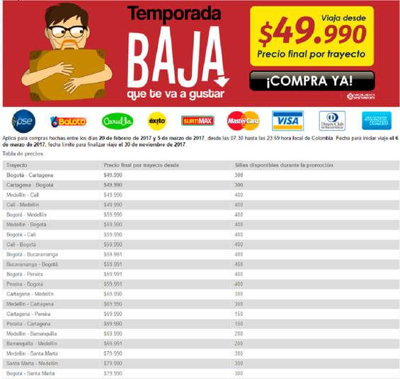 Ofertas de Viva Colombia, Temporada baja que te va a gustar