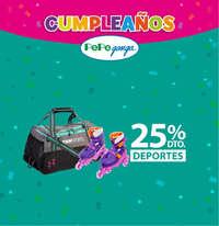 Cumpleaños Pepe Ganga - 25% de descuento en Deportes