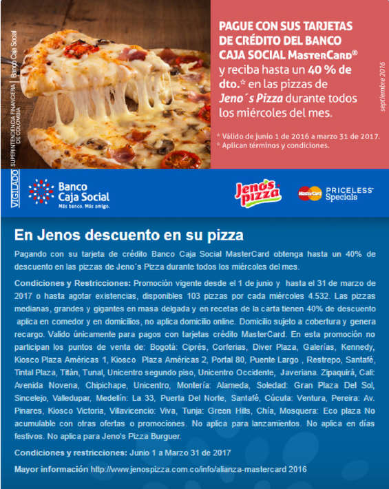 Ofertas de Banco Caja Social, En Jenos descuento en su pizza