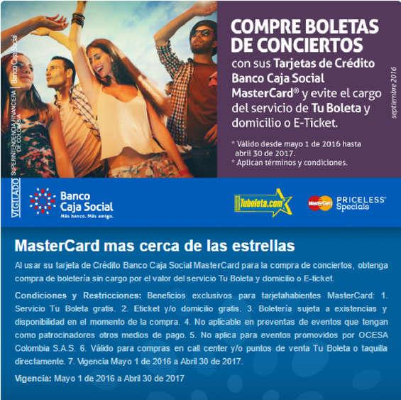 Ofertas de Banco Caja Social, MasterCard más cerca de las estrellas