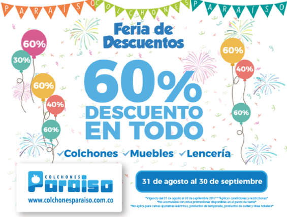 Ofertas de Colchones Paraiso, Feria de Descuentos 60%Descuento en todo