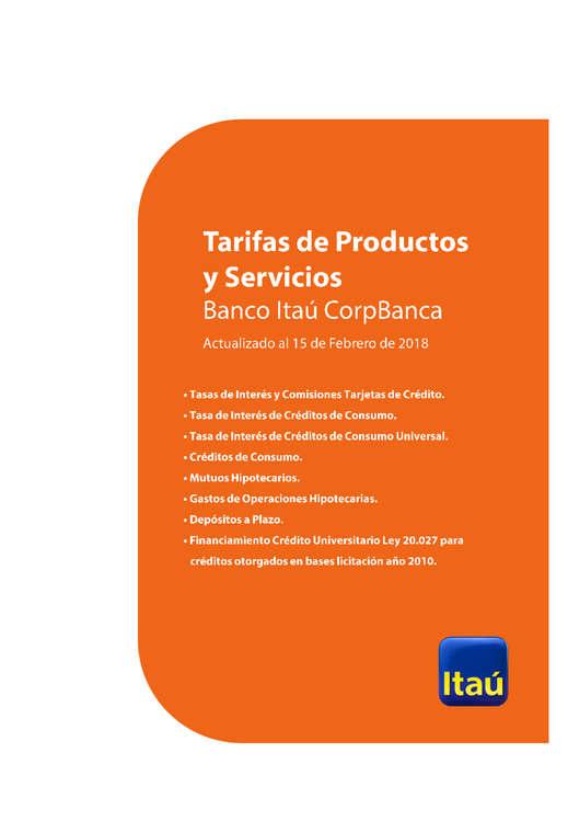 Ofertas de Corpbanca, Tarifas