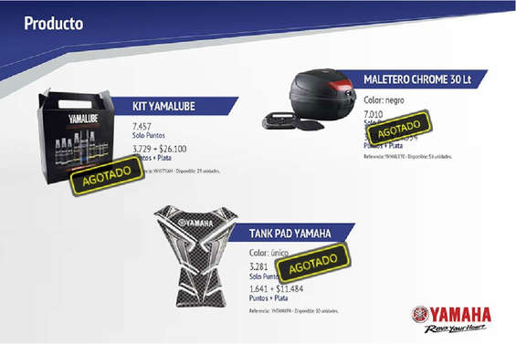 Ofertas de Yamaha Motors, Catálogo de puntos Colpatria - Yamaha