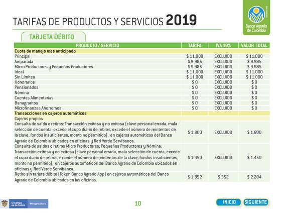 Ofertas de Banco Agrario de Colombia, Tarifario 2019 Banco Agrario