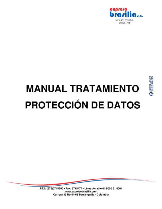Ofertas de Expresos Brasilia, Expreso Brasilia Manual tratamiento de Datos